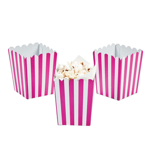 Hot pink striped popcorn boxes - MAE Inspirations