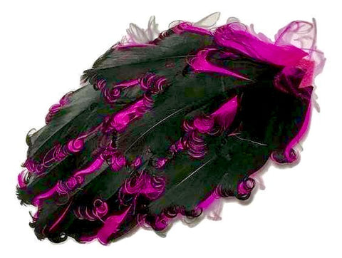 Black & hot pink 2 toned curly nagorie feather pad - MAE Inspirations