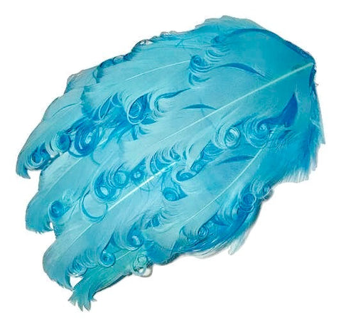 Blue & turquoise blue 2 toned curly nagorie feather pad - MAE Inspirations