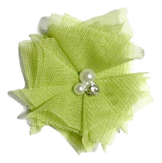 "Apple green 2.5"" tulle folded flowers w/ rhinestones & pearls - MAE Inspirations"