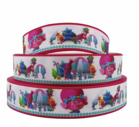 "Pink Poppy Trolls printed 1"" grosgrain ribbon - MAE Inspirations"