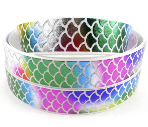 "White w/ metallic rainbow mermaid scale printed 1"" grosgrain ribbon - MAE Inspirations"