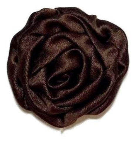 "Brown 1.5"" satin rolled rosette - MAE Inspirations"