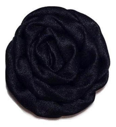 "Black 1.5"" satin rolled rosette - MAE Inspirations"