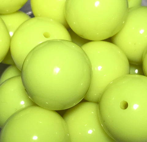 20mm neon yellow chunky bubblegum beads - MAE Inspirations