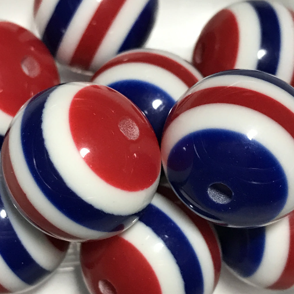 20mm red white & blue 4th of July striped chunky bubblegum beads - MAE Inspirations