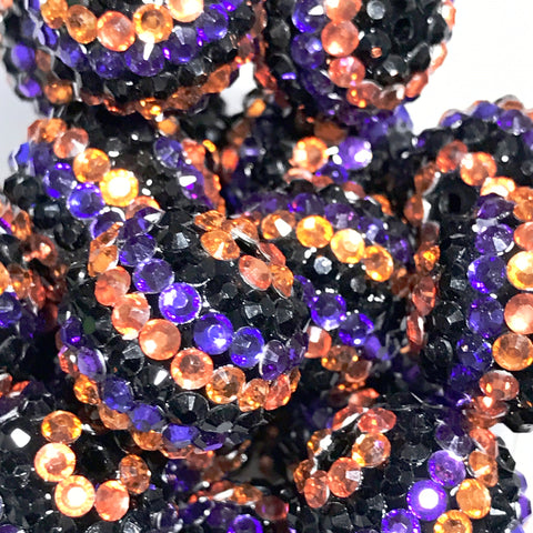 20mm Halloween stripe rhinestone chunky bubblegum beads - MAE Inspirations