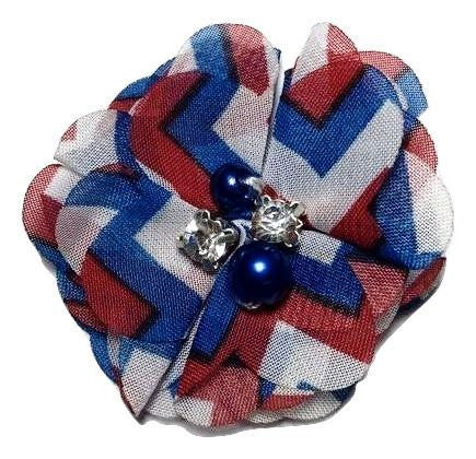 "Fourth of July chevron 2"" chiffon folded flowers w/ rhinestones & pearls"