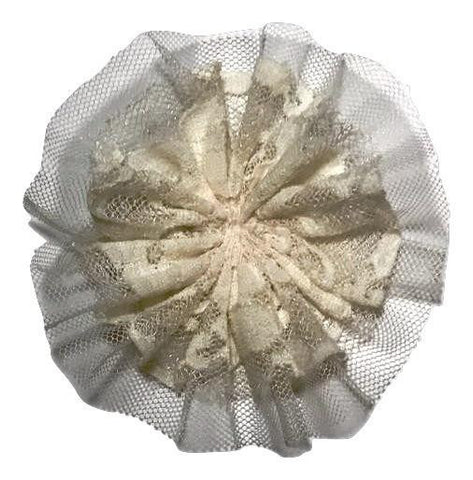 "Cream 4"" lace tulle mesh ballerina flower"
