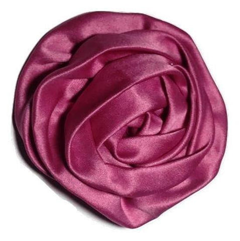 "Hot pink 3"" satin rolled rosette"