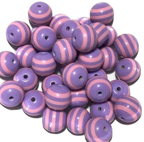 20mm light pink & lavender striped chunky bubblegum beads
