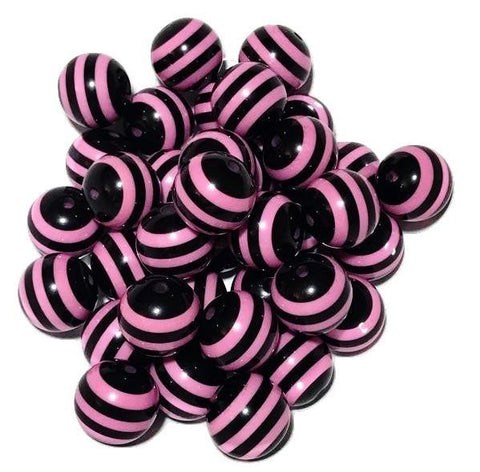 20mm hot pink & black striped chunky bubblegum beads - MAE Inspirations