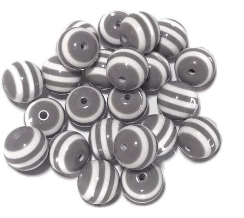 20mm gray & white striped chunky bubblegum beads - MAE Inspirations