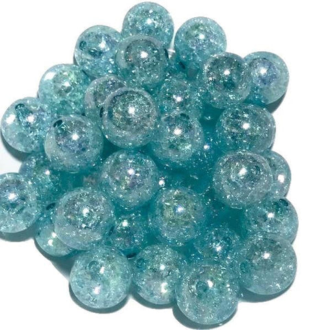 20mm aqua crackle chunky bubblegum beads - MAE Inspirations