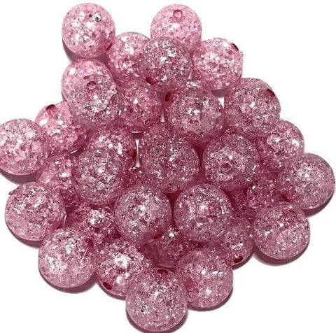 20mm hot pink crackle chunky bubblegum beads
