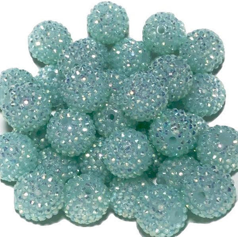 22mm aqua blue rhinestone chunky bubblegum beads - MAE Inspirations