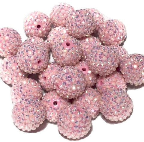 22mm light pink rhinestone chunky bubblegum beads - MAE Inspirations