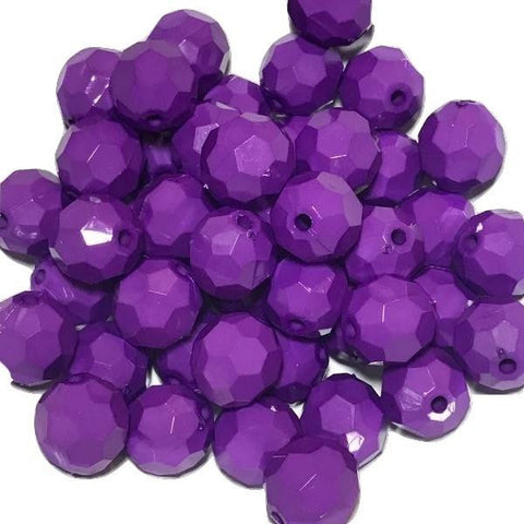 20mm purple faceted chunky bubblegum beads