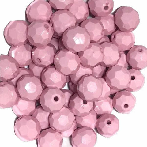20mm light pink faceted chunky bubblegum beads