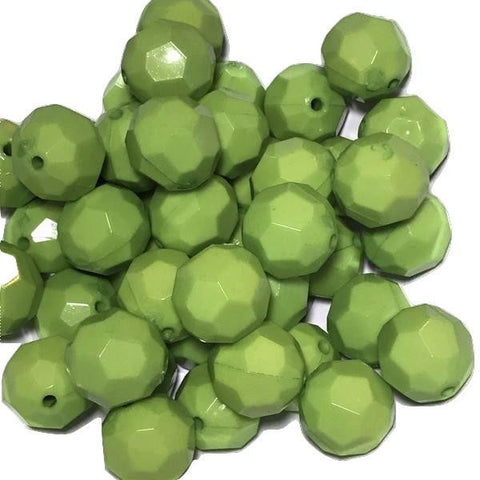 22mm lime green faceted chunky bubblegum beads - MAE Inspirations