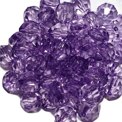 20mm purple faceted transparent chunky bubblegum beads