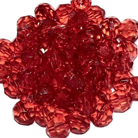 20mm red faceted transparent chunky bubblegum beads