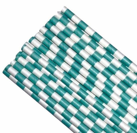 "7.75"" turquoise green stacked stripe print paper straws / 6-25 pieces"
