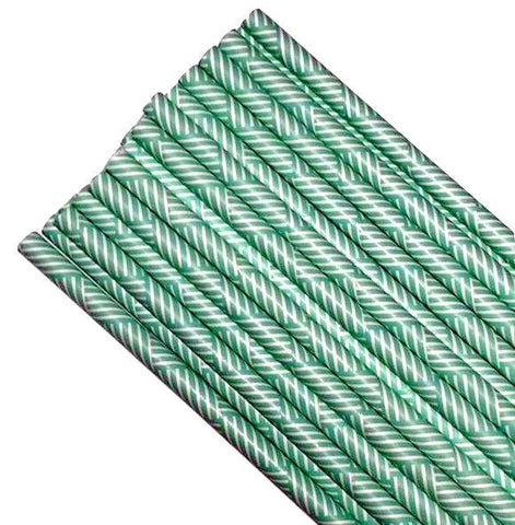 "7.75"" turquoise green multi-striped print paper straws / 6-25 pieces"
