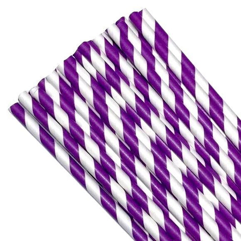 "7.75"" purple stripe print paper straws / 6-25 pieces - MAE Inspirations"