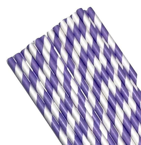 "7.75"" lavender stripe print paper straws / 6-25 pieces - MAE Inspirations"