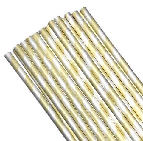 "7.75"" ivory stripe print paper straws / 6-25 pieces - MAE Inspirations"