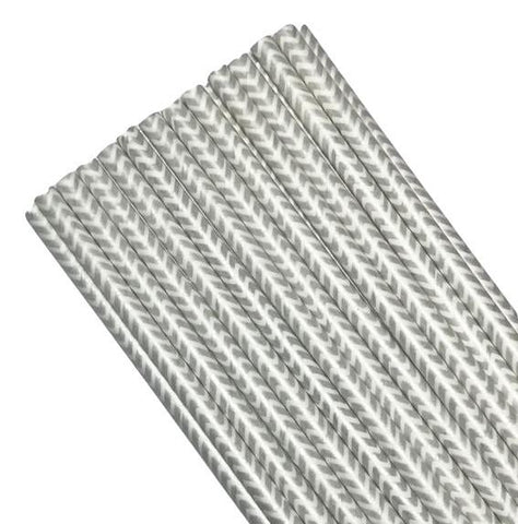 "7.75"" gray chevron paper straws / 6-25 pieces - MAE Inspirations"