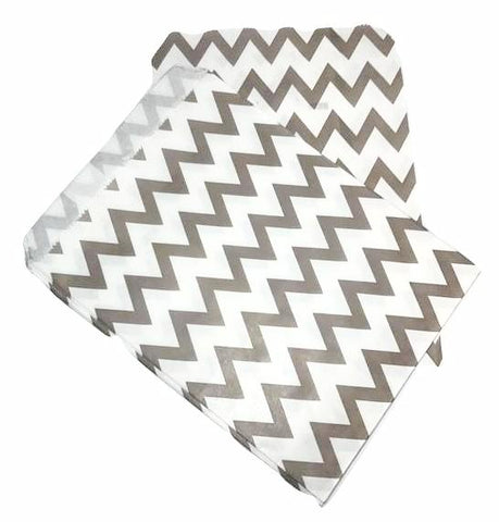 "Grey chevron 5x7"" flat paper bags / 6-24 pieces - MAE Inspirations"