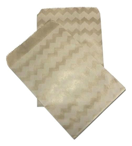 "Kraft chevron printed 4x6"" flat paper bags / 6-24 pieces - MAE Inspirations"