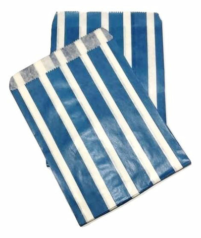 "Royal blue vertical stripe 5x7"" flat paper bags / 6-24 pieces - MAE Inspirations"