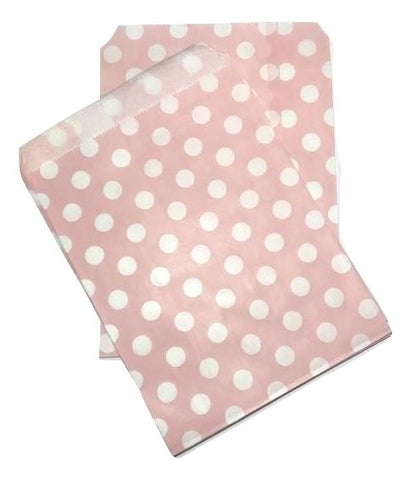 "Light pink polka dot 5x7"" flat paper bags / 6-24 pieces - MAE Inspirations"