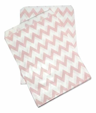 "Light pink chevron 5x7"" flat paper bags / 6-24 pieces - MAE Inspirations"