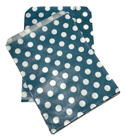 "Navy blue polka dot 5x7"" flat paper bags / 6-24 pieces - MAE Inspirations"