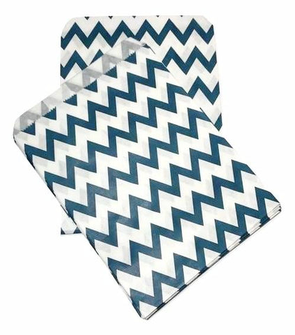 "Navy blue chevron 5x7"" flat paper bags / 6-24 pieces - MAE Inspirations"