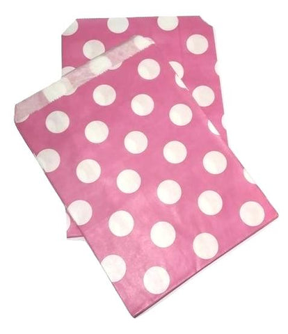 "Hot pink JUMBO polka dot 5x7"" flat paper bags / 6-24 pieces - MAE Inspirations"