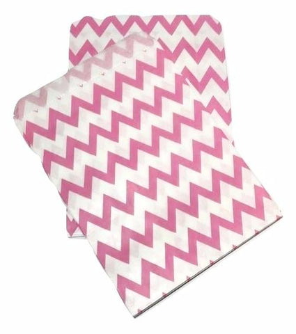 "Hot pink chevron 5x7"" flat paper bags / 6-24 pieces - MAE Inspirations"
