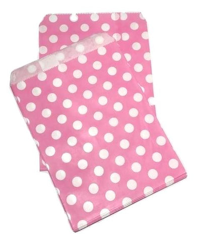"Hot pink polka dot 5x7"" flat paper bags / 6-24 pieces - MAE Inspirations"