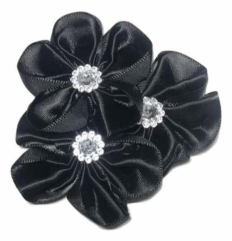 "Black 2.75"" satin petal cluster flower w/ rhinestone center (rounded) - MAE Inspirations"