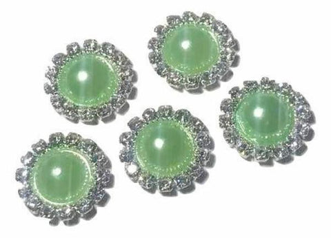 13mm lime green pearl rhinestone metal flat back button - MAE Inspirations