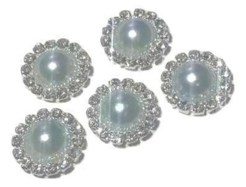 13mm light blue pearl rhinestone metal flat back button - MAE Inspirations