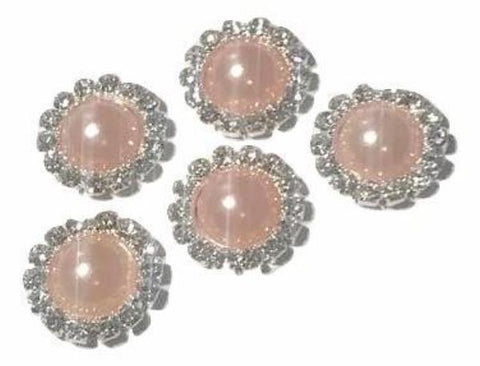 13mm light pink pearl rhinestone metal flat back button - MAE Inspirations