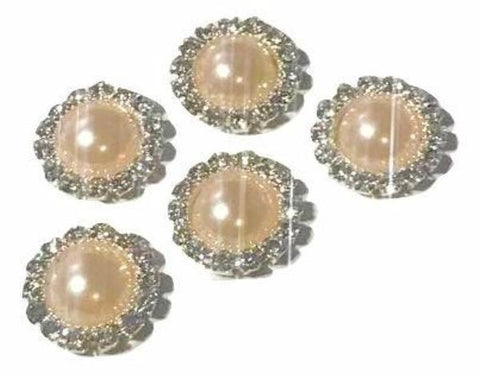 13mm peach pearl rhinestone metal flat back button - MAE Inspirations