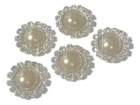 13mm cream pearl rhinestone metal flat back button - MAE Inspirations