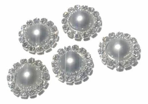 13mm gray pearl rhinestone metal flat back button - MAE Inspirations