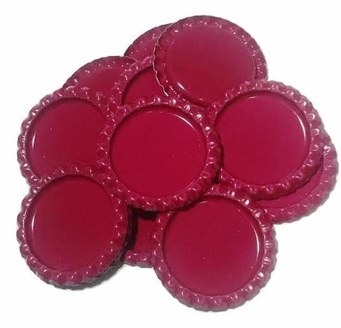 Cherry red flattened bottle caps - MAE Inspirations